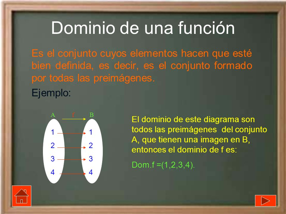 Dominio de una función Es el conjunto cuyos elementos hacen que esté bien definida, es decir, es el conjunto formado por todas las preimágenes.