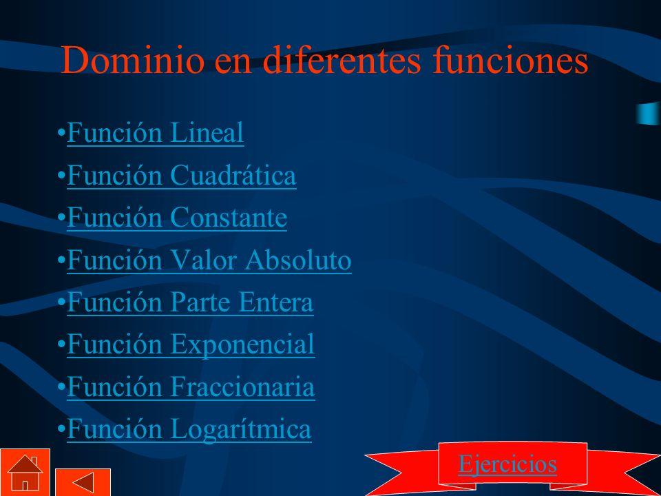 Dominio en diferentes funciones
