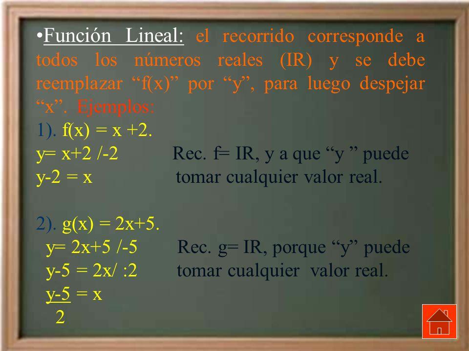 Función Lineal: el recorrido corresponde a todos los números reales (IR) y se debe reemplazar f(x) por y , para luego despejar x . Ejemplos: