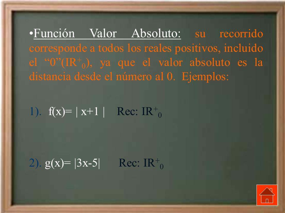 Función Valor Absoluto: su recorrido corresponde a todos los reales positivos, incluido el 0 (IR+0), ya que el valor absoluto es la distancia desde el número al 0. Ejemplos: