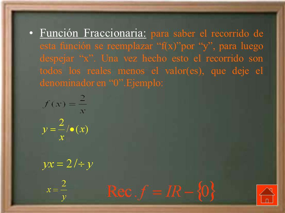Función Fraccionaria: para saber el recorrido de esta función se reemplazar f(x) por y , para luego despejar x .