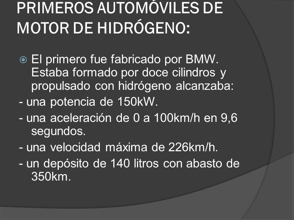 PRIMEROS AUTOMÓVILES DE MOTOR DE HIDRÓGENO: