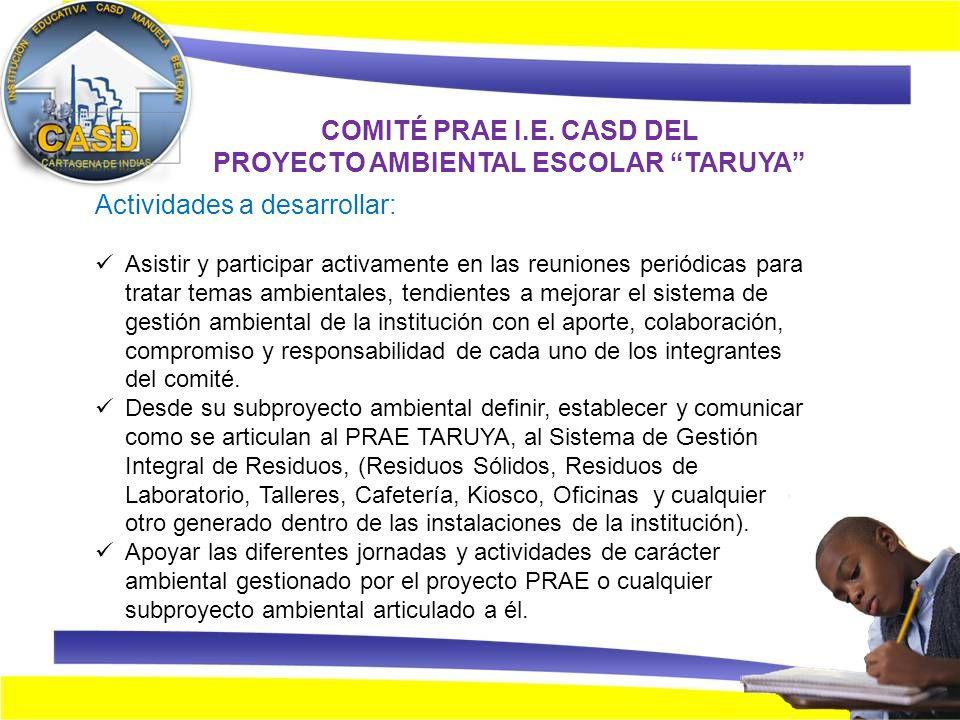 Proyecto ambiental escolar prae taruya sub proyecto for Proyecto cafeteria escolar