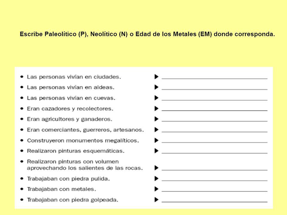 Escribe Paleolítico (P), Neolítico (N) o Edad de los Metales (EM) donde corresponda.