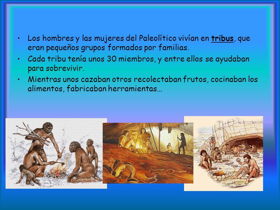 Los hombres y las mujeres del Paleolítico vivían en tribus, que eran pequeños grupos formados por familias.
