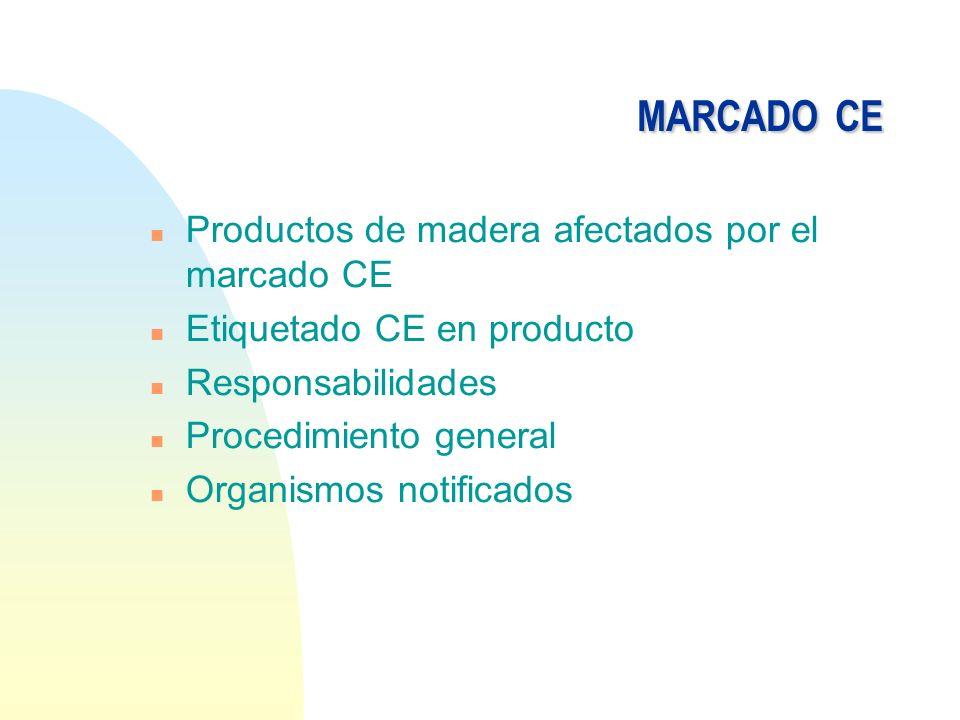 MARCADO CE Productos de madera afectados por el marcado CE