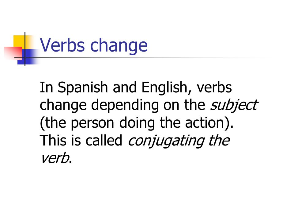 Verbs change In Spanish and English, verbs change depending on the subject (the person doing the action).
