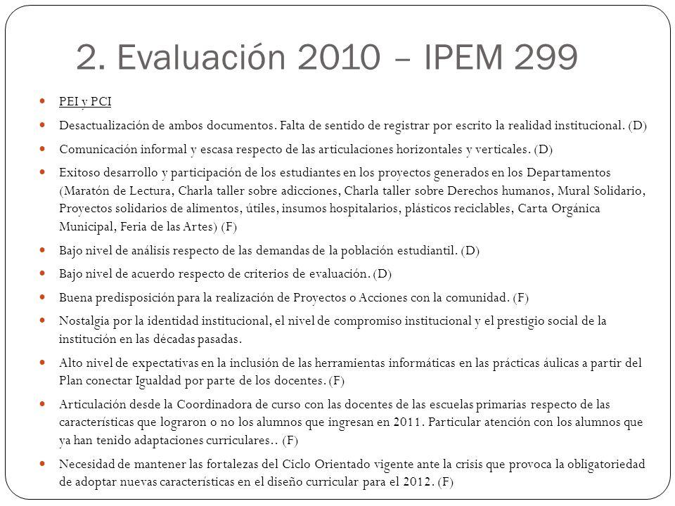 2. Evaluación 2010 – IPEM 299 PEI y PCI
