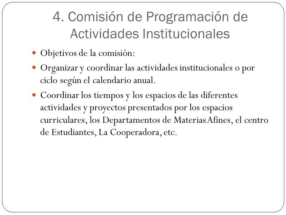 4. Comisión de Programación de Actividades Institucionales