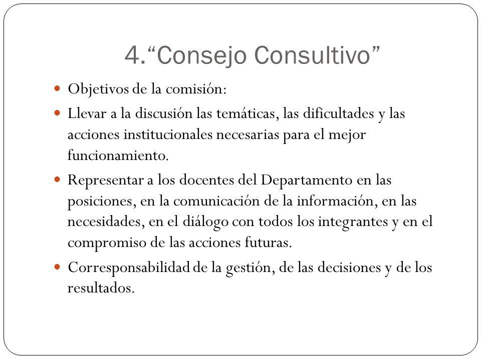 4. Consejo Consultivo Objetivos de la comisión: