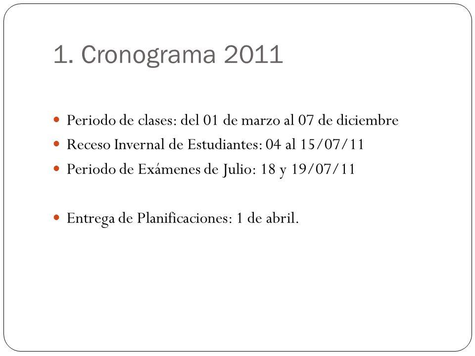 1. Cronograma 2011Periodo de clases: del 01 de marzo al 07 de diciembre. Receso Invernal de Estudiantes: 04 al 15/07/11.