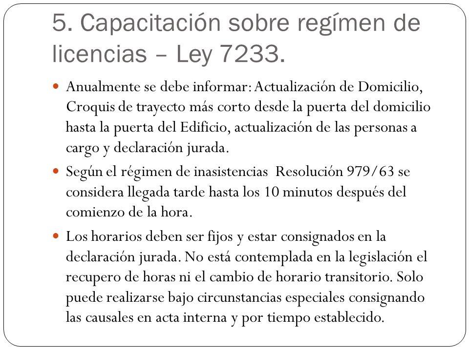 5. Capacitación sobre regímen de licencias – Ley 7233.