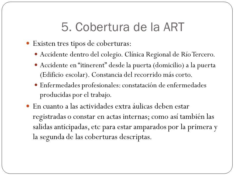 5. Cobertura de la ART Existen tres tipos de coberturas: