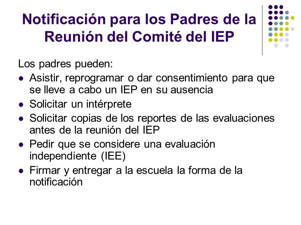 Notificación para los Padres de la Reunión del Comité del IEP