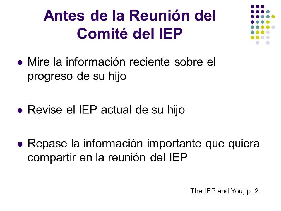 Antes de la Reunión del Comité del IEP