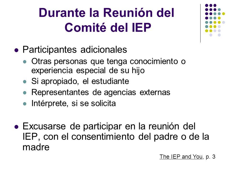 Durante la Reunión del Comité del IEP