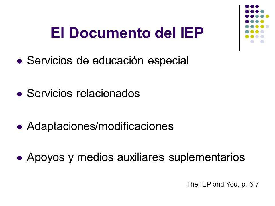 El Documento del IEP Servicios de educación especial