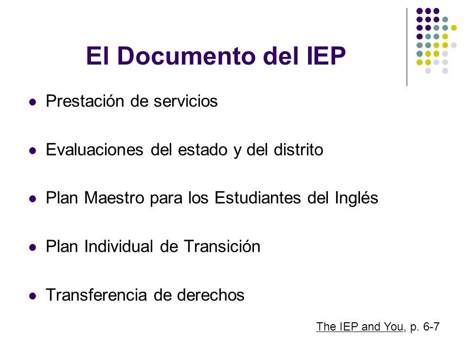 El Documento del IEP Prestación de servicios