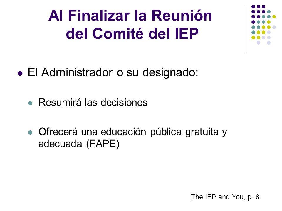 Al Finalizar la Reunión del Comité del IEP