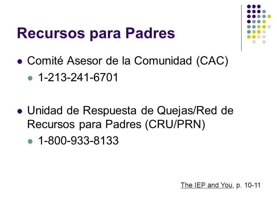 Recursos para Padres Comité Asesor de la Comunidad (CAC)
