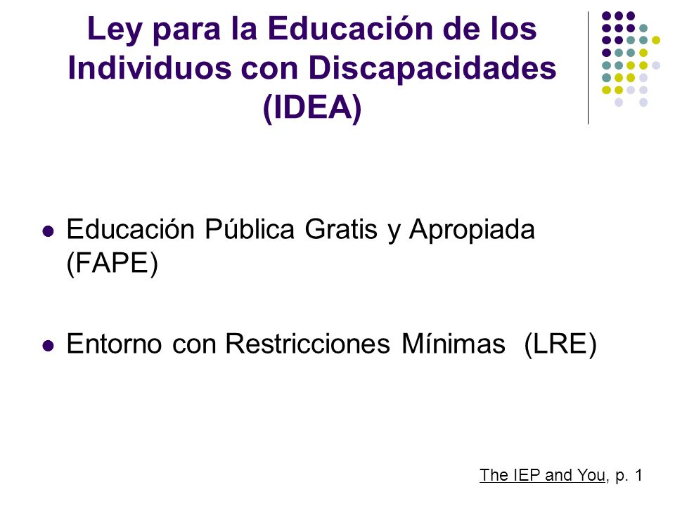 Ley para la Educación de los Individuos con Discapacidades (IDEA)