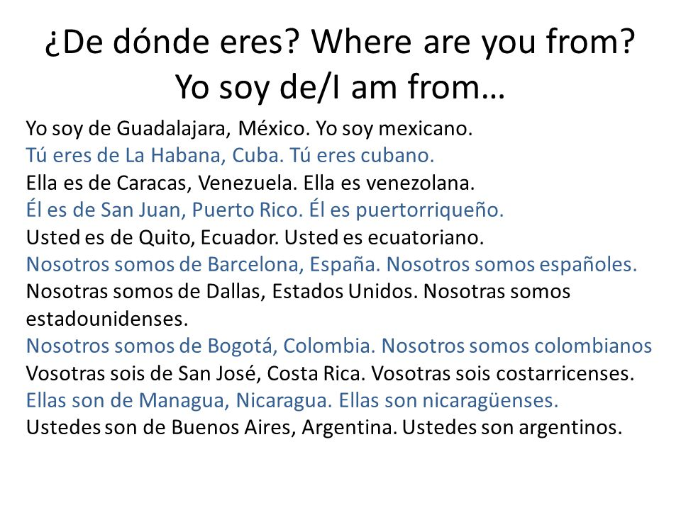 ¿De dónde eres Where are you from Yo soy de/I am from…