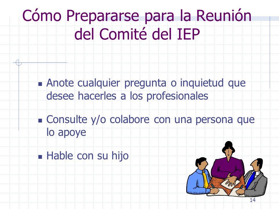 Cómo Prepararse para la Reunión del Comité del IEP