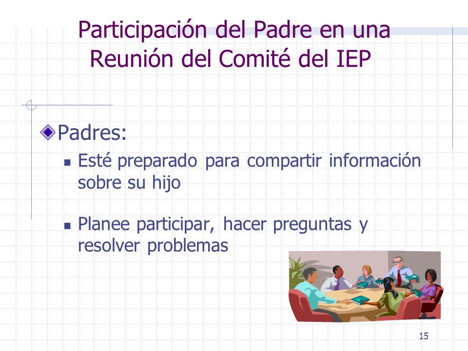 Participación del Padre en una Reunión del Comité del IEP