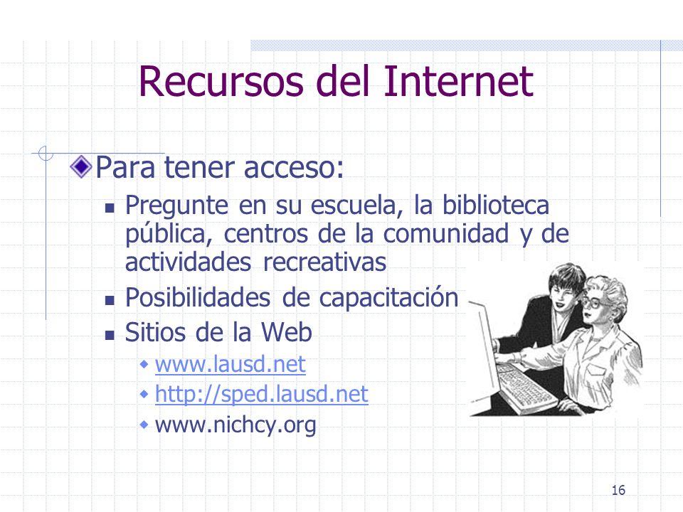 Recursos del Internet Para tener acceso:
