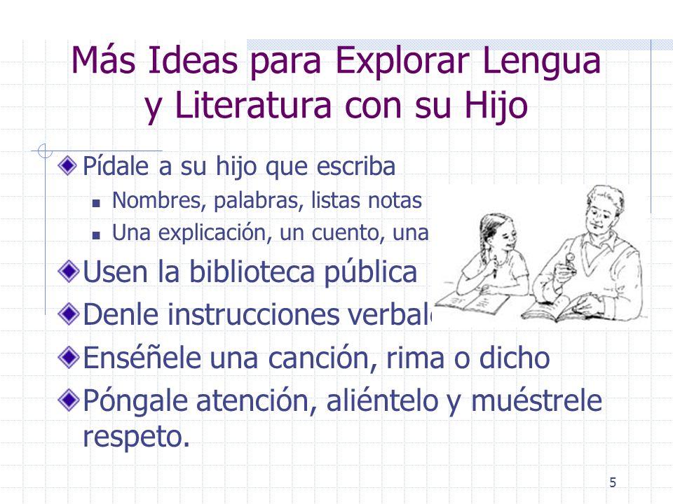 Más Ideas para Explorar Lengua y Literatura con su Hijo