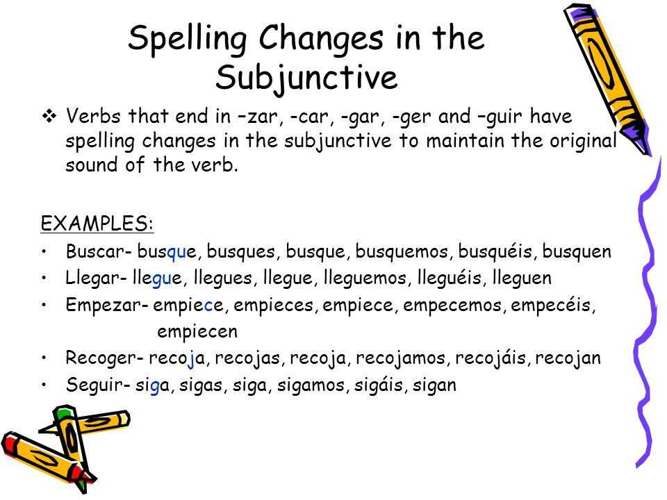 Spelling Changes in the Subjunctive