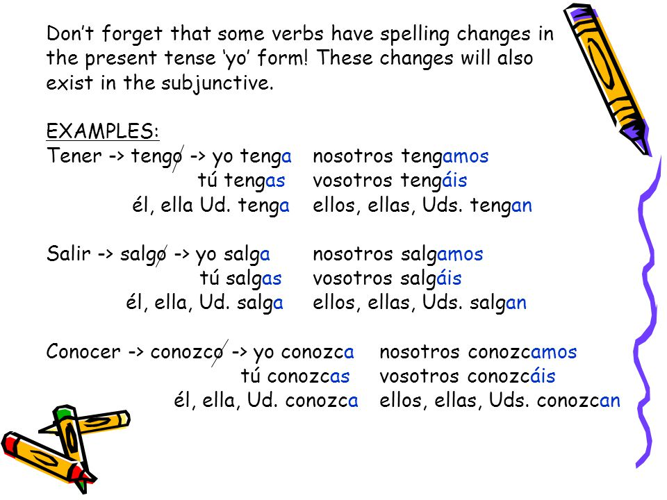 Don't forget that some verbs have spelling changes in
