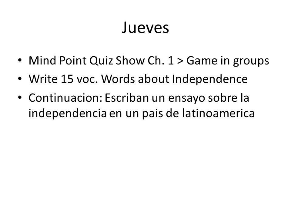 Jueves Mind Point Quiz Show Ch. 1 > Game in groups