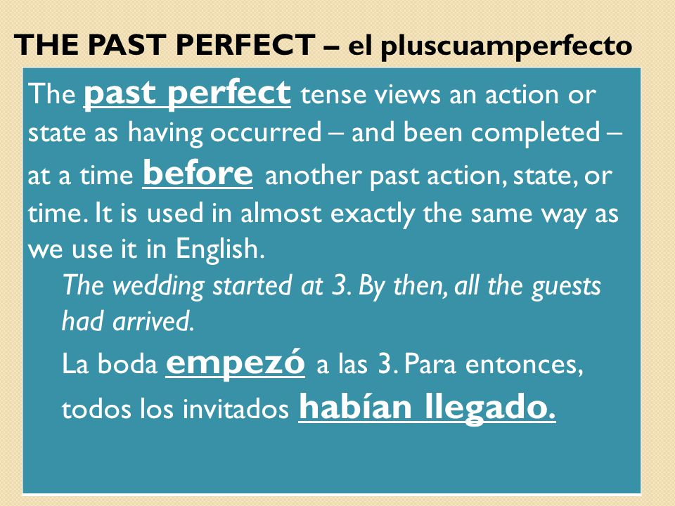 THE PAST PERFECT – el pluscuamperfecto