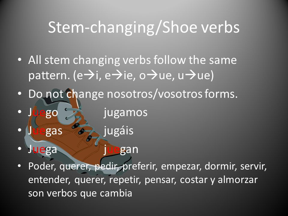 Stem-changing/Shoe verbs