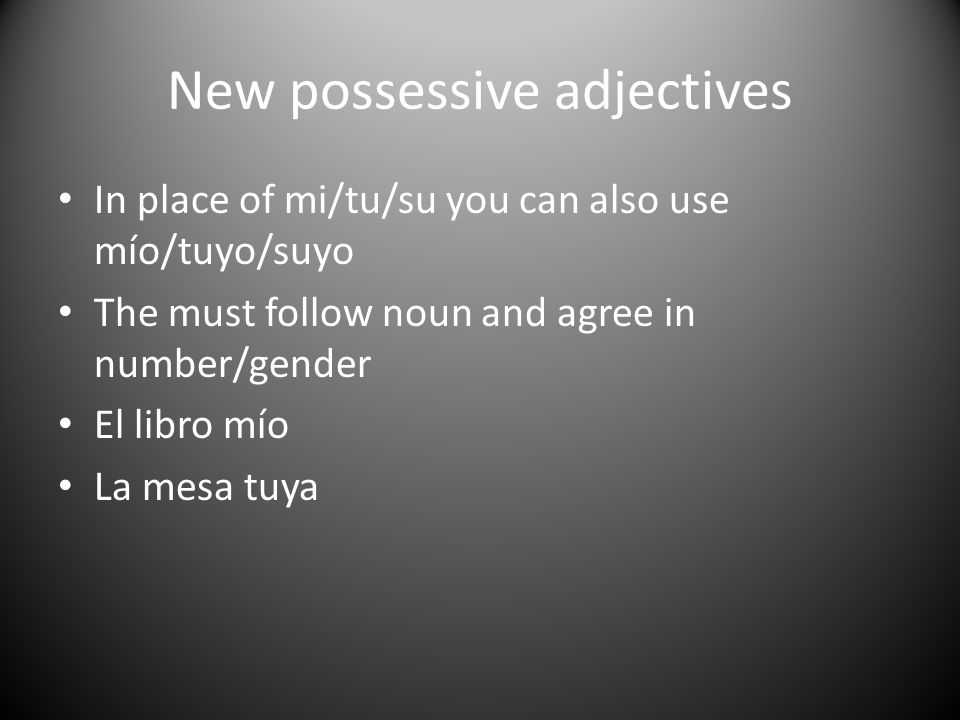 New possessive adjectives