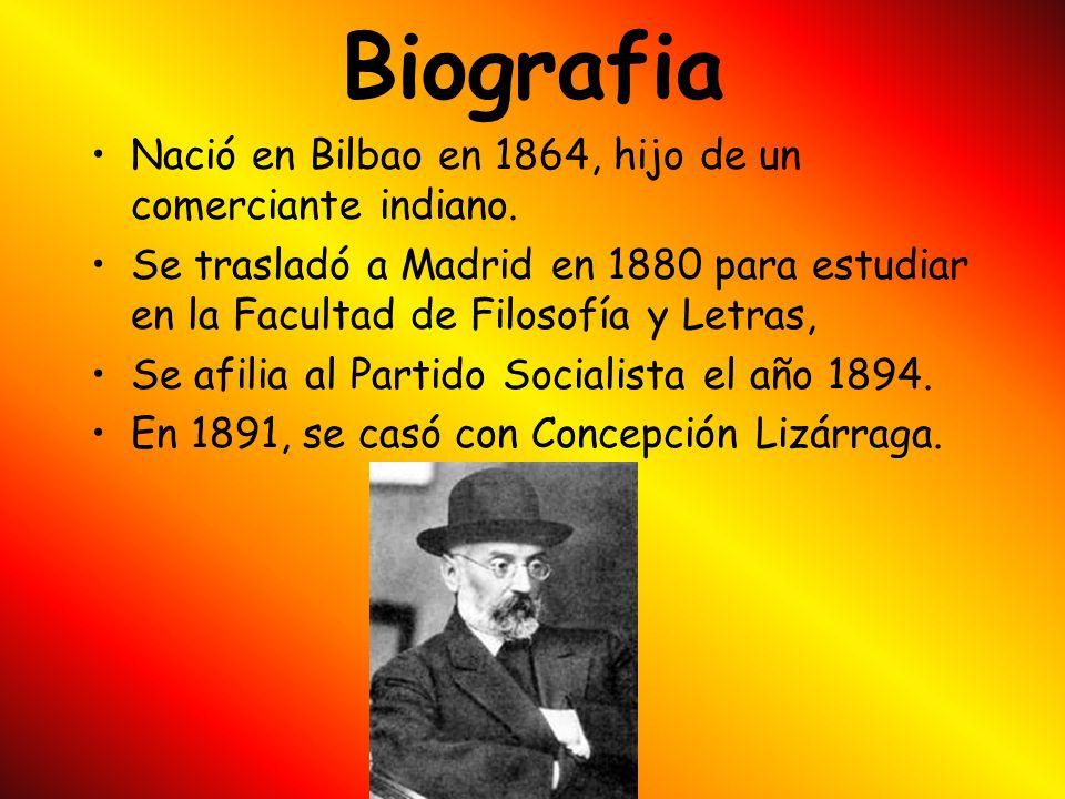 Biografia Nació en Bilbao en 1864, hijo de un comerciante indiano.