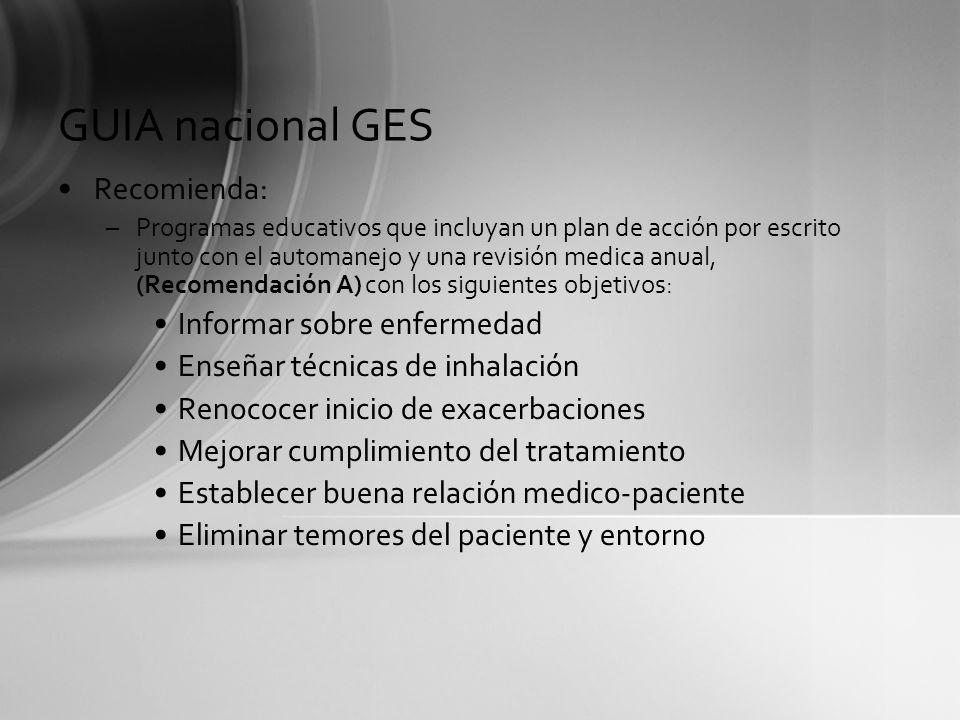 GUIA nacional GES Recomienda: Informar sobre enfermedad
