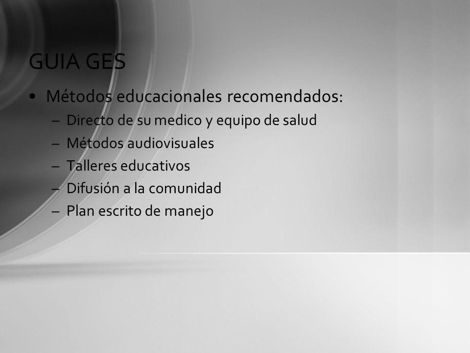 GUIA GES Métodos educacionales recomendados: