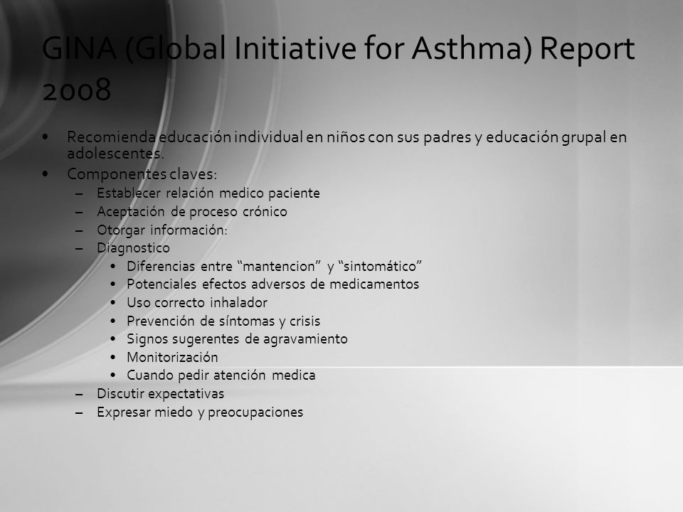 GINA (Global Initiative for Asthma) Report 2008