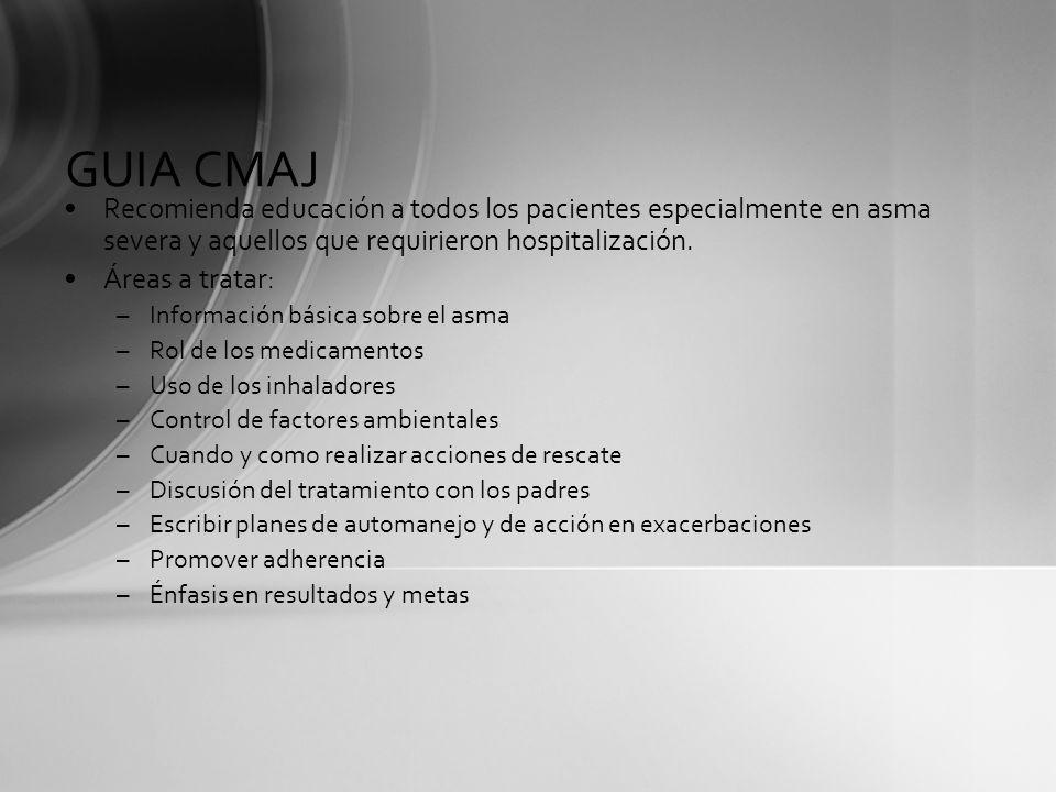 GUIA CMAJRecomienda educación a todos los pacientes especialmente en asma severa y aquellos que requirieron hospitalización.