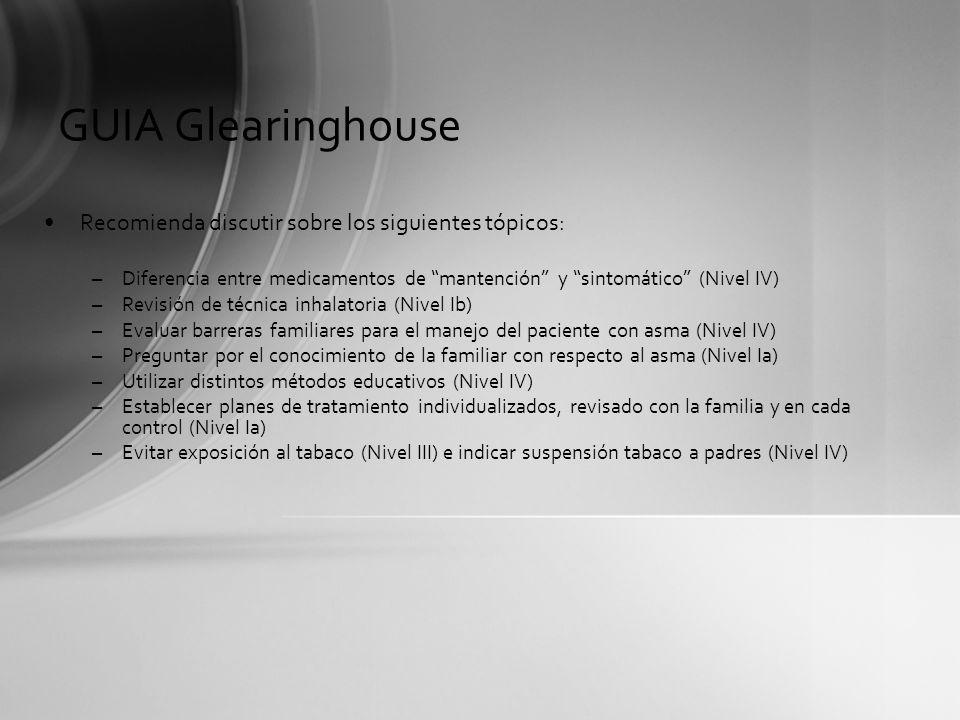 GUIA Glearinghouse Recomienda discutir sobre los siguientes tópicos: