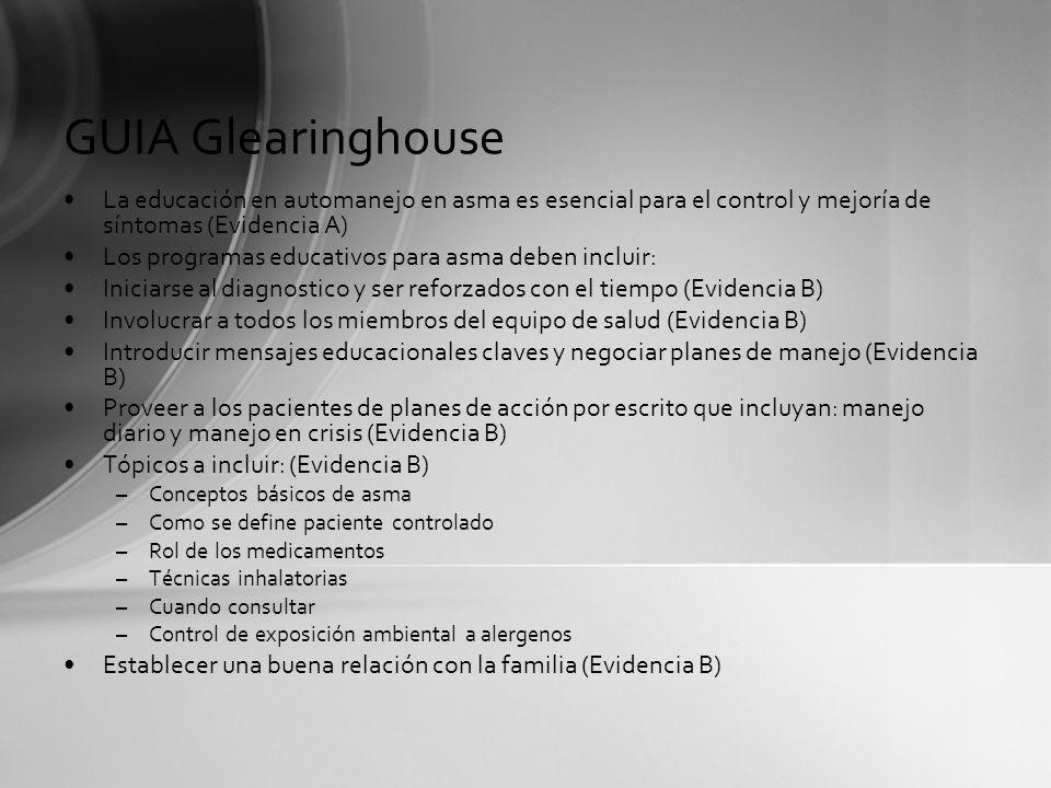 GUIA GlearinghouseLa educación en automanejo en asma es esencial para el control y mejoría de síntomas (Evidencia A)