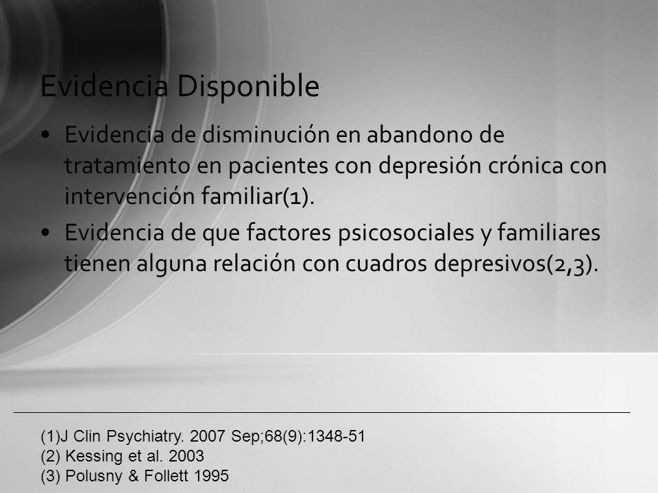 Evidencia DisponibleEvidencia de disminución en abandono de tratamiento en pacientes con depresión crónica con intervención familiar(1).