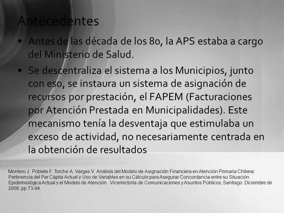 Antecedentes Antes de las década de los 80, la APS estaba a cargo del Ministerio de Salud.