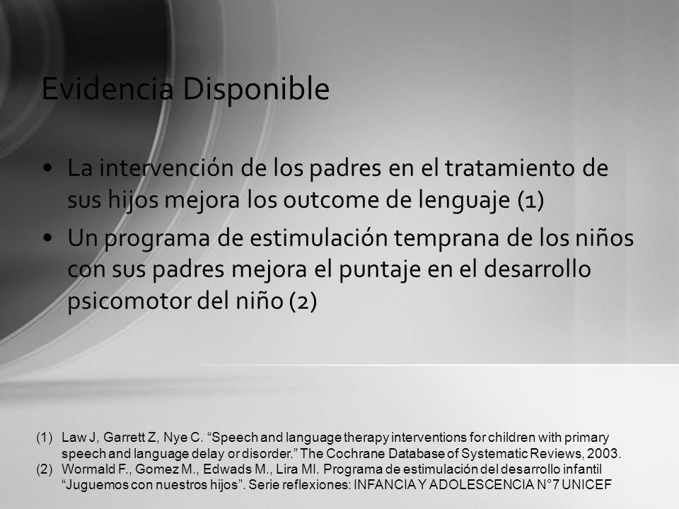 Evidencia DisponibleLa intervención de los padres en el tratamiento de sus hijos mejora los outcome de lenguaje (1)