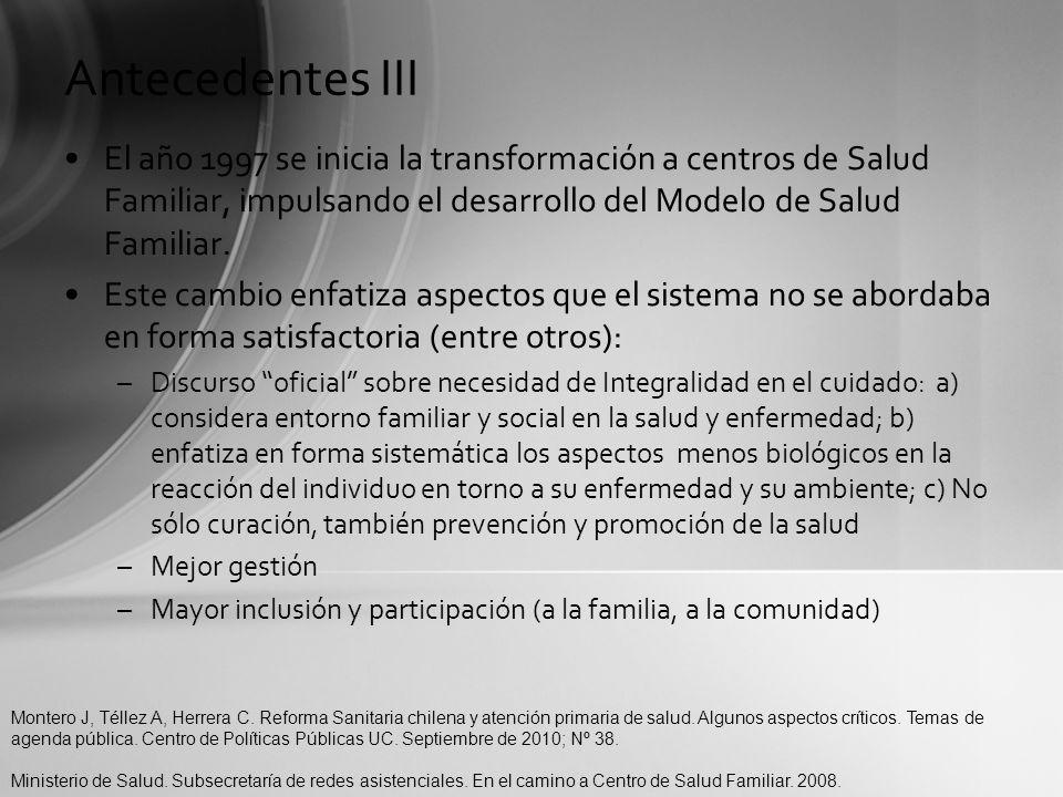 Antecedentes III El año 1997 se inicia la transformación a centros de Salud Familiar, impulsando el desarrollo del Modelo de Salud Familiar.