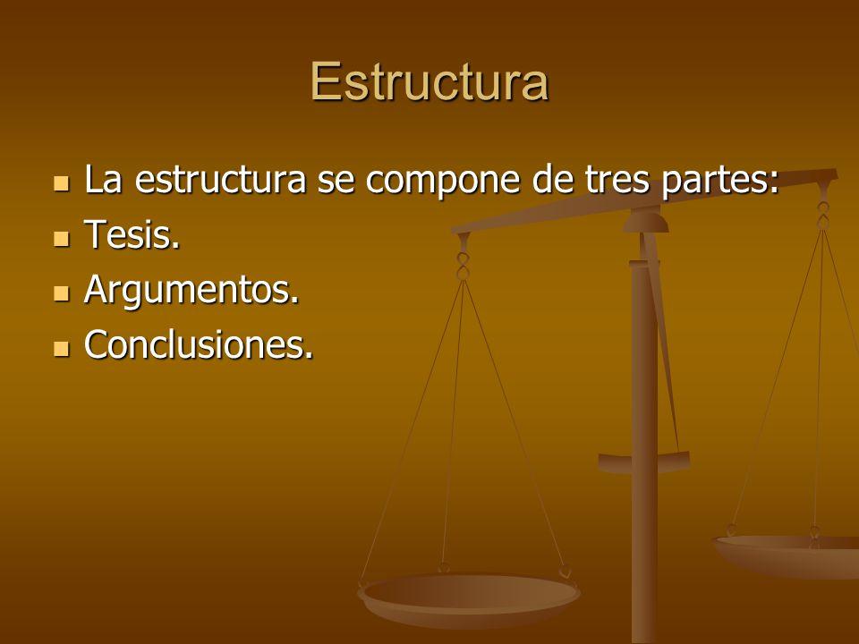 Estructura La estructura se compone de tres partes: Tesis. Argumentos.