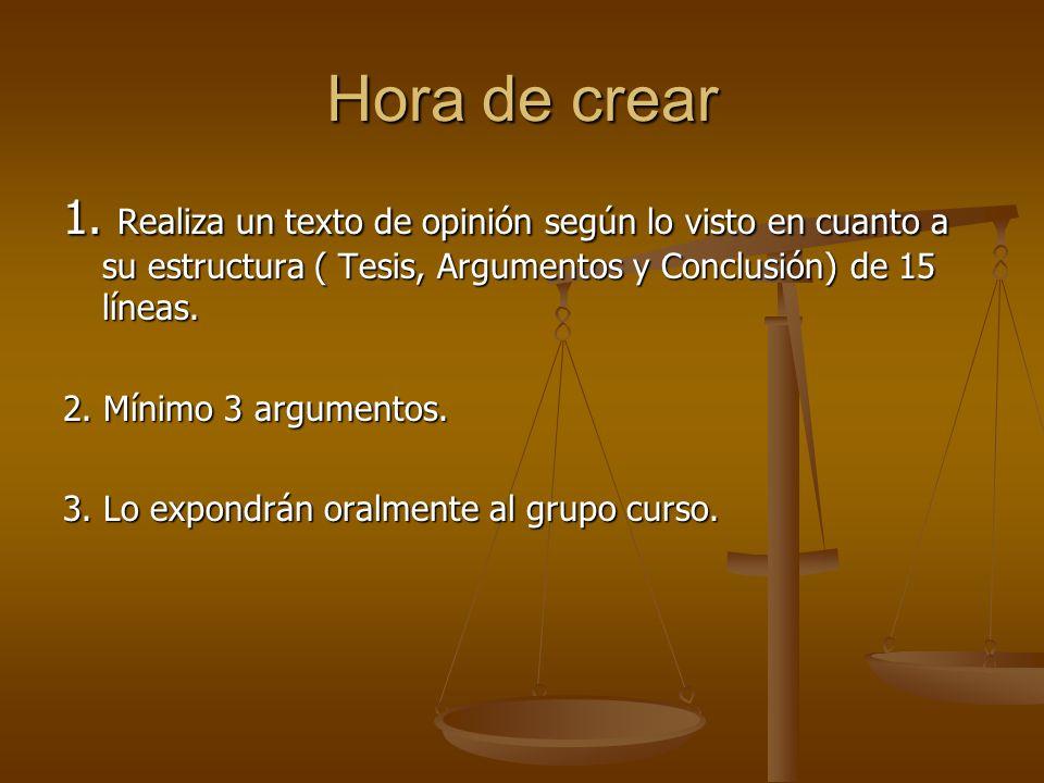 Hora de crear 1. Realiza un texto de opinión según lo visto en cuanto a su estructura ( Tesis, Argumentos y Conclusión) de 15 líneas.