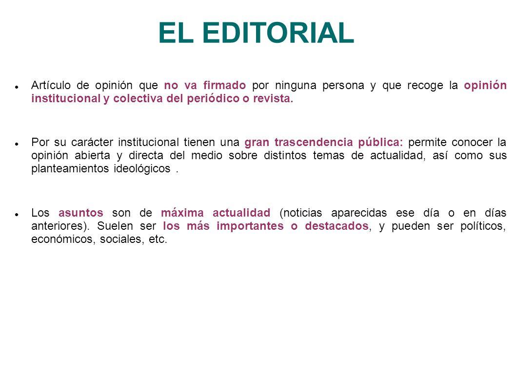 EL EDITORIAL Artículo de opinión que no va firmado por ninguna persona y que recoge la opinión institucional y colectiva del periódico o revista.